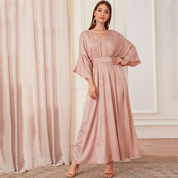 Abaya Pink Batwing Sleeve Floral Modest Maxi Dress Women Solid V Neck A Line High Waist Elegant Dresses