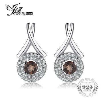 "JewelryPalace Fashion ""X"" marks 0.79ct Round Natural Smoky Quartz Stud Earrings For Women Pure 925 Sterling Silver Fine Jewelry"