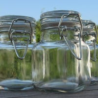 Clear APOTHECARY JARS With Latching Metal Lids, Set Of 3 - 2oz, 60ml each