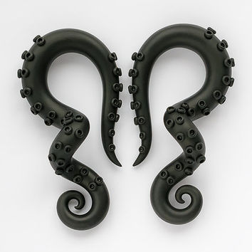 Black Tentacle Gauges, Fake Gauges, Ear Gauges, Tentacle Earrings, Fake Plugs, Octopus Gauges, Faux Gauges, Ear Plugs 2g, 0g, 00g, Faux Plug