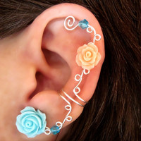 "Non Pierced Ear Cuff ""Roses are Pastel"" Cartilage Conch Cuff Silver tone Prom"
