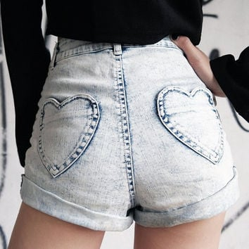 SALE -Kiss My Heart Shorts, High Waisted Shorts, All Sizes
