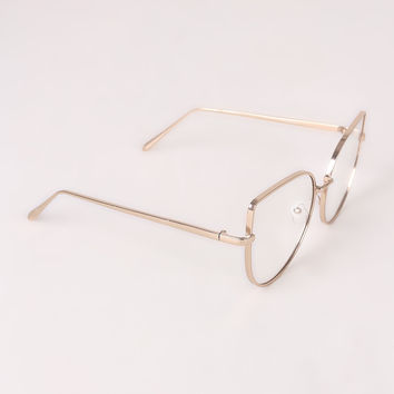 Simple Oversized Clear Lenses Cat Eyed Glasses
