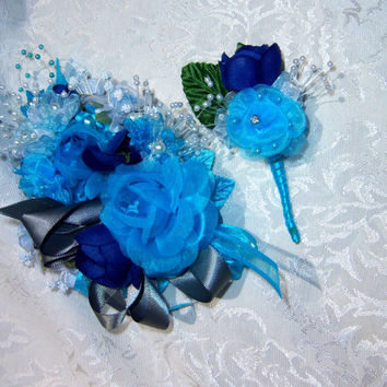 Wrist Corsage and Boutonniere Set- Prom- Wedding- Blue and Grey