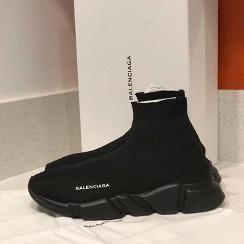 One-nice™ 100% AUTH Balenciaga Knit Speed Sock TRIPLE Black Trainer Sneaker Runner NOIR