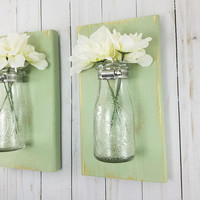 Bathroom Wall Decor - Distressed Home Decor - Wall Vase - Milk Bottles - Wall Sconce - New Home Housewarming Gift - Living Room Wall Decor