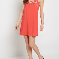 Red Floral Embroidered Lattice Dress | Casual Dresses | rue21