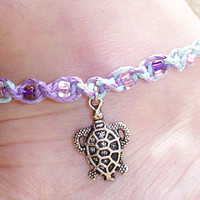 Turtle Hemp Anklet  on Pastel Hemp with Purple and Pink girls womens  handmade jewelry  hippie