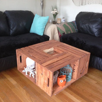 Stained Crate Coffee Table by CustomPaintedGlass on Etsy