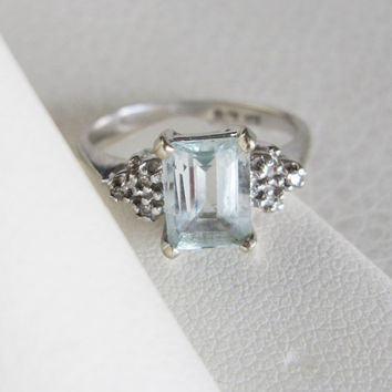 10k Estate Vintage Emerald cut Aquamarine Ring Gemstone Halo Diamonds White Gold Art Deco Edwardian Georgian Antique birthstone engagement