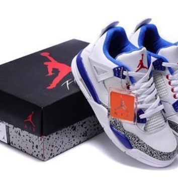 Cheap Air Jordan 4 Retro Men Shoes White Blue Grey