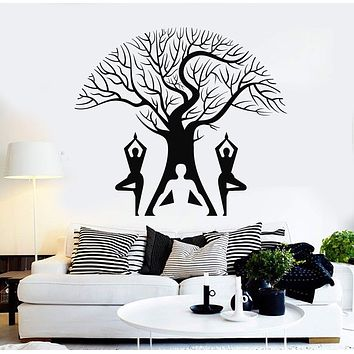 Vinyl Wall Decal Yoga Pose Tree Meditation Room Buddhism Stickers Mural Unique Gift (ig4621)