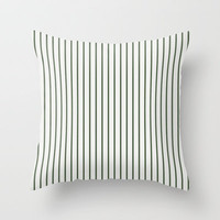 Dark Olive Green Stripes Pattern Throw Pillow by Georgiana Paraschiv