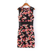 Summer Women's Fashion Print Lace Mosaic Sleeveless One Piece Dress [4917840772]