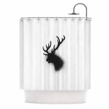 "BarmalisiRTB ""Dark Deer"" Black White Shower Curtain"