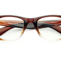 Retro Clear Lens Wayfarer Glasses Frames Brown W522 - Default Title / Medium / Brown