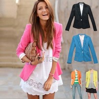Trendy Basic Slim Foldable Lapel Suit Jacket Blazer Coat Candy Color XS S M L XL