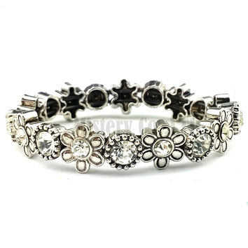 Vintage Antique Silver Color Flower Charm Crystal Indian Stretch Bracelet Bangle For Women Girls Jewelry Jewellery
