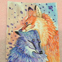 SALE Kitsune Fox Lovers Gouache Artist Card Original ACEO