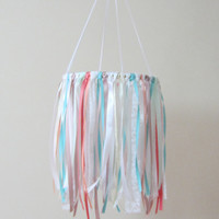Boho Nursery Crib Mobile, Nursery Dreamcatcher Mobile, Coral and Turquoise Mobile, Dreamcatcher Mobile,Ribbon Mobile, Boho Mobile,