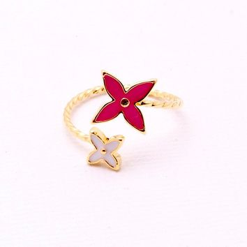 Flower Girls Ring - Pink/Gold