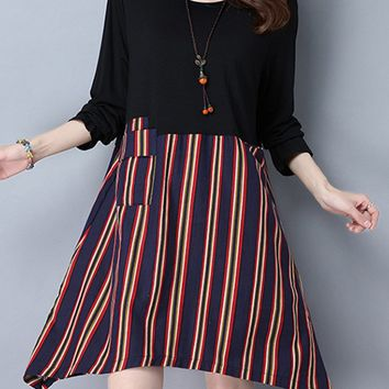 Casual Round Neck Patch Pocket Vertical Striped Shift Dress
