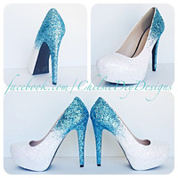 Icy Blue Ombre Glitter High Heels