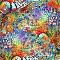 Colorful Iguana Art - Tropical Two - Sharon Cummings