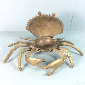 vintage 1970s solid brass crab ashtray - nautical decor