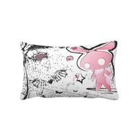 Kawaii emo Pink Bunny Pillow from Zazzle.com