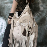 Ivory white dove leather fringe hobo bohemian zebra leather light beige fringed boho bag shoulder purse rocker large moroccan by sweet smoke