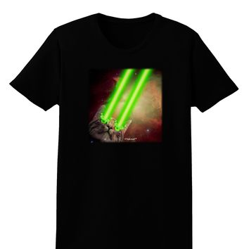 Laser Eyes Cat in Space Design Womens Dark T-Shirt by TooLoud