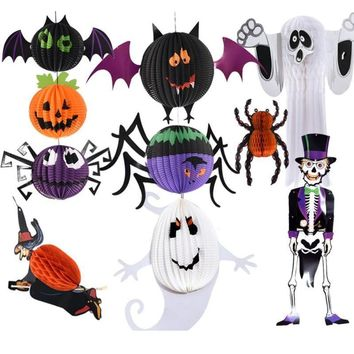 Halloween Decoration Bat Spider Ghost Sorcerer Pumpkin Paper Pendant Lanterns Props Ornaments Kindergarten Decoration