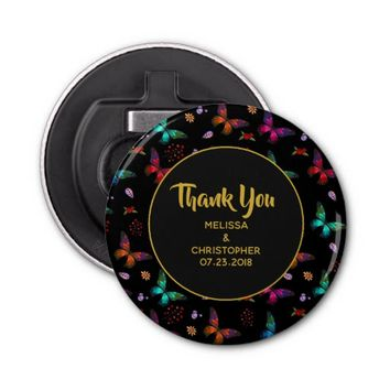 Elegant Colorful Butterflies on Black Thank You Bottle Opener
