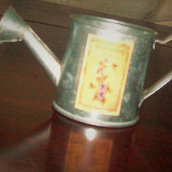 Candle, very subtle sage scent   candle in watering can, vintage style watering can, white with green flecks, candle, tin watering can