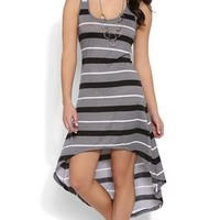 Striped High Low Racerback Dress with Tank Straps