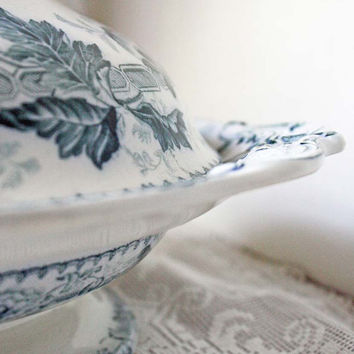 Flow Blue Covered Dish Serving Mid 1800s by Cottonridgevintage