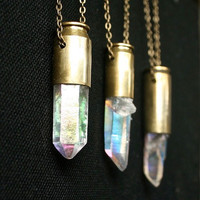 rainbow quartz crystal bullet necklace