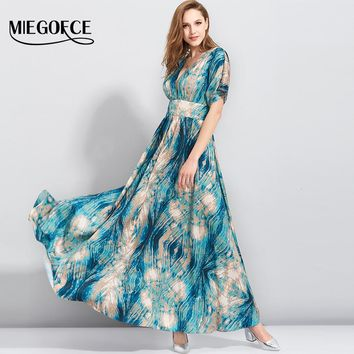Boho Flower Print Summer Dress Deep V Neck Sexy Long Wome Dress Elegant Beach Casual Holiday Dress MIEGOFCE New Collection