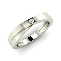 Diamond Men's Ring in 14k White Gold | 0.04 ct. tw. | Round Cut | Alina | Diamondere