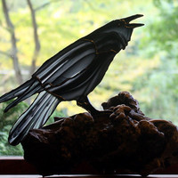 Raven Stained Glass Sculpture on Burl Wood Base