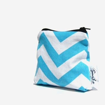 Turquoise Chevron Coin Purse. Change Wallet. Small Pouch. Accessory for Her. Design Your Own Choose Interior and Zipper. Bridesmaid Gift.