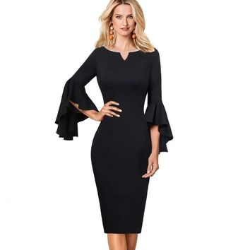 Sexy Elegant Flare Bell Long Sleeves Fashion Special Occasion Party Pencil Midi Dress