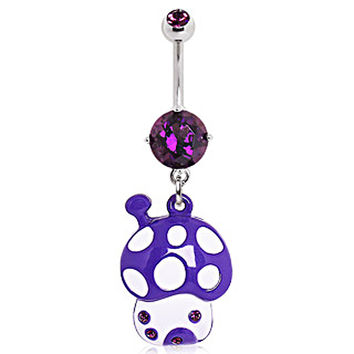 316L Surgical Steel Magic Mushroom House Navel Ring