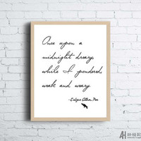 Once Upon A Midnight Dreary Print | Edgar Allan Poe Printable Wall Art | Digital Download Prints
