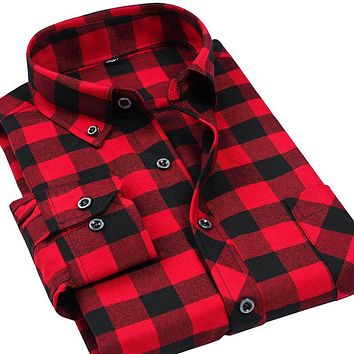 Red Plaid Flannel Sanding Shirts Men Fashion Long Sleeve Men Shirts Top Quality Men Dress Shirt Casual Shirts