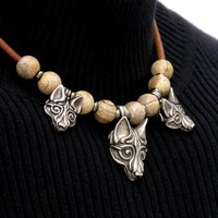 Three Tribal Wolves On Leather Cord Necklace with Gemstone Accent Beads