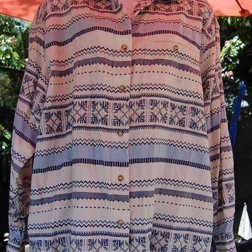 Vintage 80s 90s Futures Tribal Southwest Aztec Woven Textured Print Long Sleeve Shirt Top Blouse Made in India Size 2X