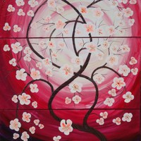 View: Cherry blossom 54 florals painting flowers decor original floral art 100x150x2 cm stretched canvas acrylic sakura art spring red purple pink wall art by artist Ksavera | Artfinder