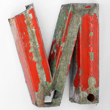 """Industrial Metal Letter """"N"""" / Reclaimed Socialist Signage Advertising / Salvaged Volumetric Letter / Romania - 60s"""